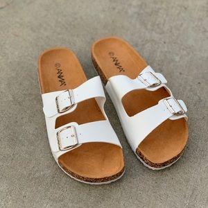 Anna White Double Strap Birk Sandal Flip Flop
